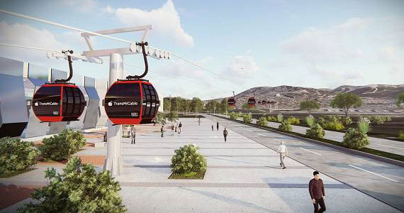 Image rendering of cable cars in Bogotá