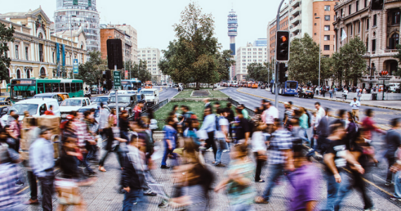 Blurry people in the streets of Chile