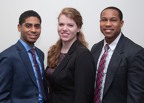 Rakim Solomon, Caroline Osborn and Robbie Suite, Second Place winners at ABA Regional Mediation Competition 2019