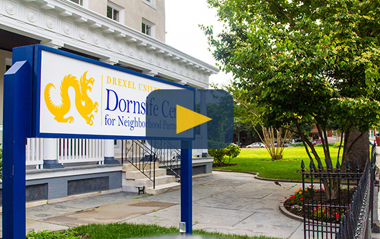 Photo of Dornsife Center for Neighborhood Partnerships, which houses the Andy and Gwen Stern Community Lawyering Clinic. Click to watch video that describes the CLC's mission and impact on the Philadelphia community.