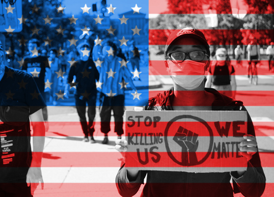 "Photo of protestor with sign (""Stop Killing Us - We Matter""). Photo is overlaid by U.S. flag graphic."