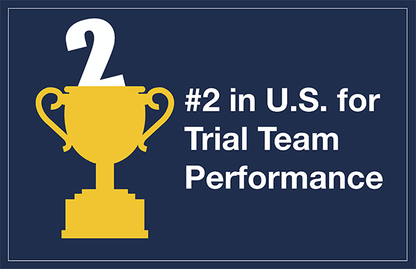 Illustration of trophy. #2 in U.S. for Trial Team Performance.