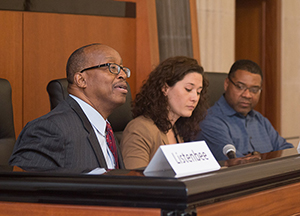 Robert Listenbee, Katrina Young and John Pace during panel concerning the role of trauma in influencing criminal justice outcomes