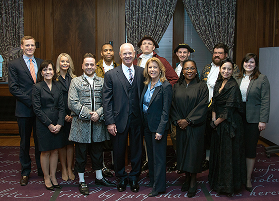 The cast of the trial against Aaron Burr inspired by Hamilton musical