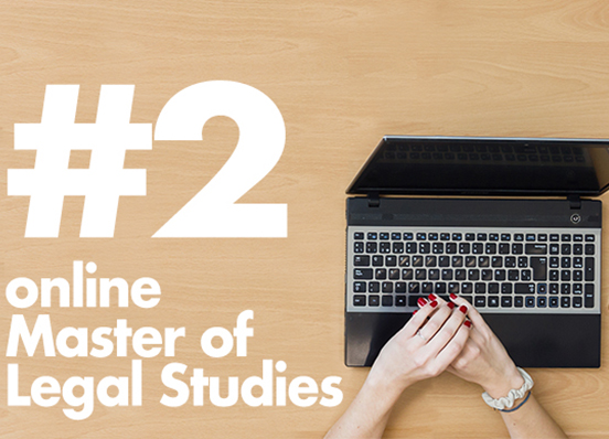 The Kline School of Law's online Master of Legal Studies program ranks #2 in the U.S., according to OnlineMasters.com
