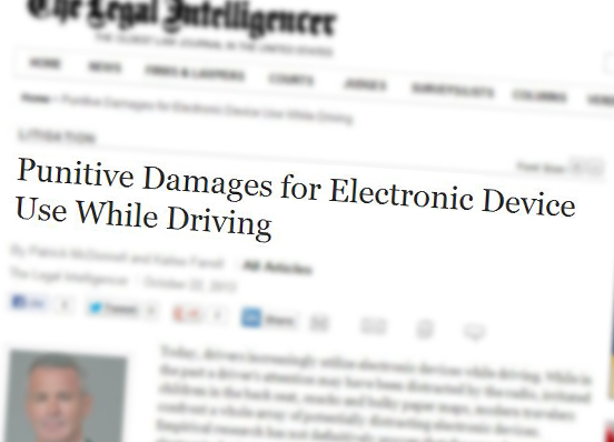 Alumna Writes on Punitive Damages and Distracted Drivers in The Legal Intelligencer