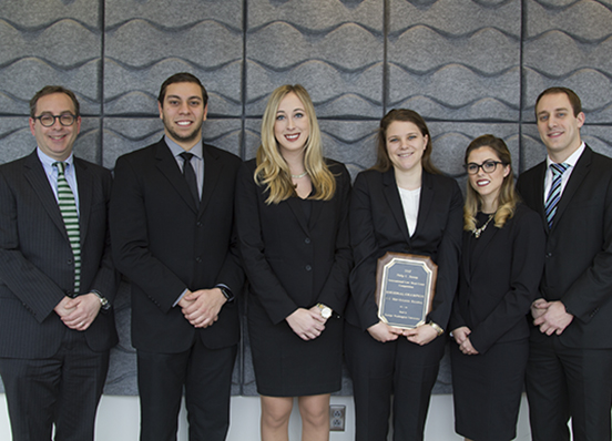 Dean Filler with 2017 Jessup International Law Moot Court Competition Mid-Atlantic Regional Champions
