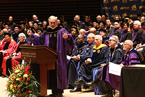 NYU President Emeritus John Sexton addresses graduates Class of 2016