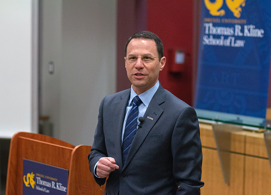 PA Attorney General Josh Shapiro visits the law school Feb. 28 2019