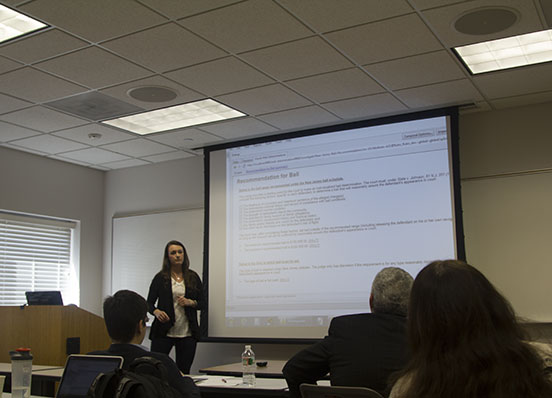 Student presents legal policy application solutions