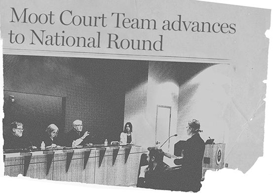Photo of student facing judges in Kline moot court competition stylized with newspaper effect