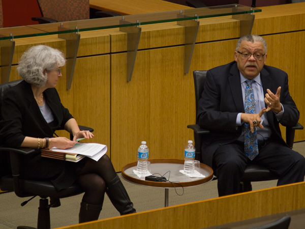 Former Philadelphia Police Chief Charles Ramsey speaks at the law school
