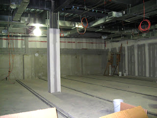 Construction of new building on Drexel Queen Lane campus, 2009 - interior storage space. (The Legacy Center Archives and Special Collections)