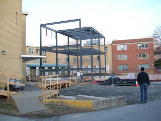 Construction of new building on Drexel Queen Lane campus, 2009 - steel frame. (The Legacy Center Archives and Special Collections)