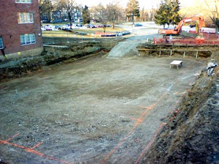 Construction of new building on Drexel Queen Lane campus, 2009 - basement excavation. (The Legacy Center Archives and Special Collections)