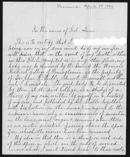 Letter from a patient to Woman's Medical College of Pennsylvania Dean Dr. Rachel Bodley, 1886. (The Legacy Center Archives and Special Collections)