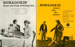 Drug advertisements for bonadoxin from the Medical Women's Journal. (The Legacy Center Archives and Special Collections)