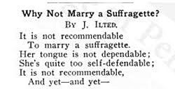 Clipping title Why Not Marry a Suffragette, by J. Ilted. (The Legacy Center Archives and Special Collections)