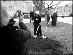 Magic golden groundbreaking shovels, Drexel University College of Medicine, Philadelphia, PA, December 18, 2008. (The Legacy Center Archives and Special Collections)