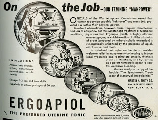 Drug advertisement for ergopiol from the Medical Women's Journal, 1944. (The Legacy Center Archives and Special Collections)