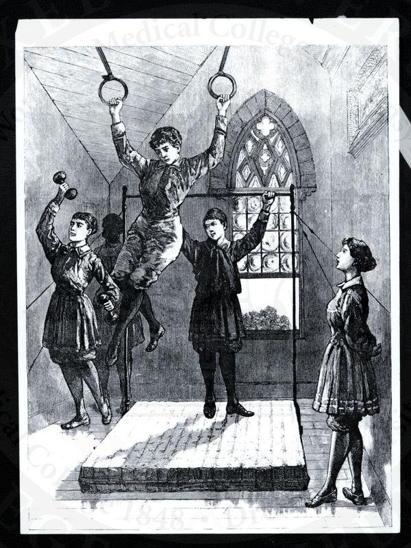 Illustration of women working out in the Woman's Medical College of Pennsylvania gymnasium. (The Legacy Center Archives and Special Collections)