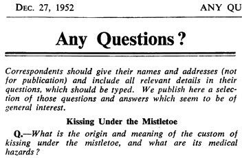 """Any Questions?"" - article in the The British Medical Journal (BMJ, Vol. 2, No. 4799, Dec. 27, 1952, pp. 1431-1432. (The Legacy Center Archives and Special Collections)"