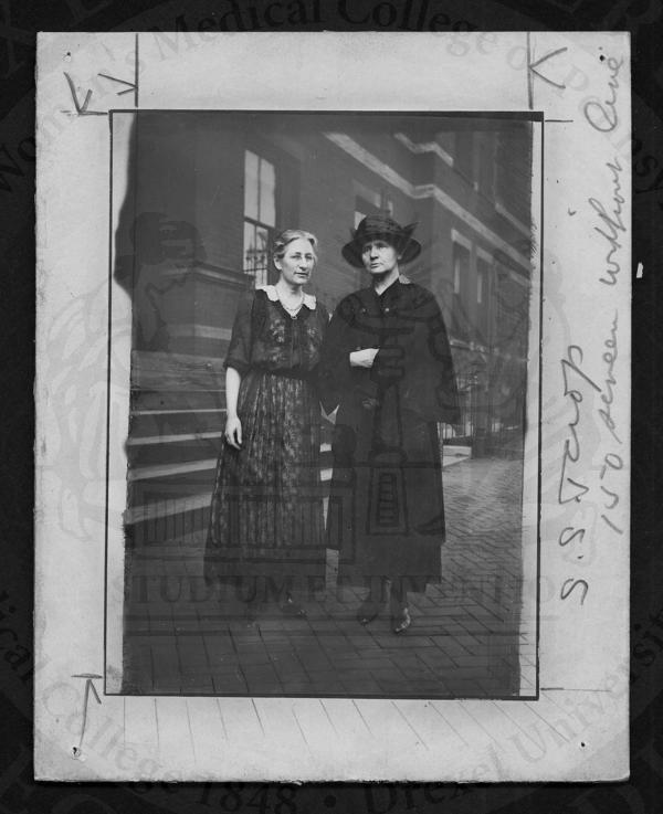 Marie Curie and Martha Tracy in front of Woman's Medical College of Pennsylvania. (The Legacy Center Archives and Special Collections)