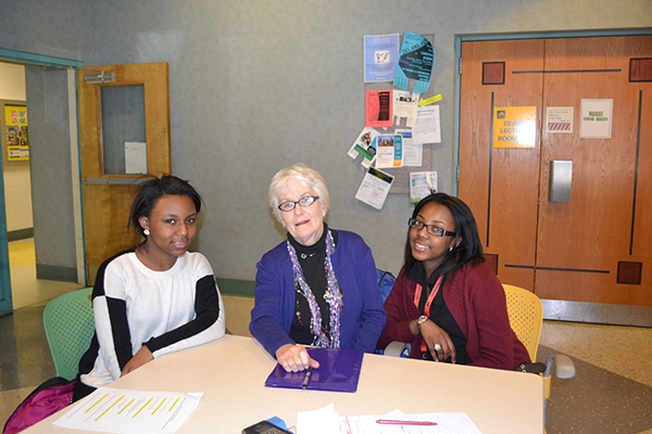 Mastery interns with interviewee Mary Ellen Bradley (The Legacy Center Archives and Special Collections)