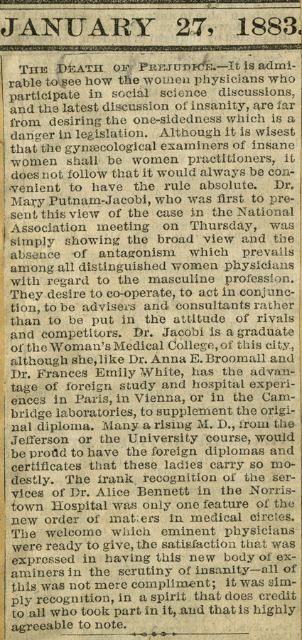An 1883 newspaper clipping, praising women physicians (The Legacy Center Archives and Special Collections)