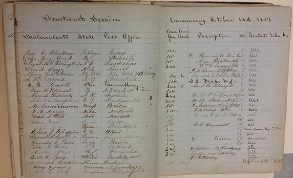 Matriculation book for Woman's Medical College of PA, October 14, 1863 (The Legacy Center Archives and Special Collections)