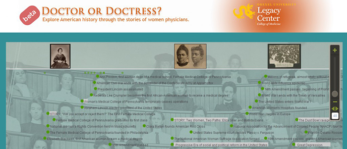 Doctor or Doctress beta header (The Legacy Center Archives and Special Collections)