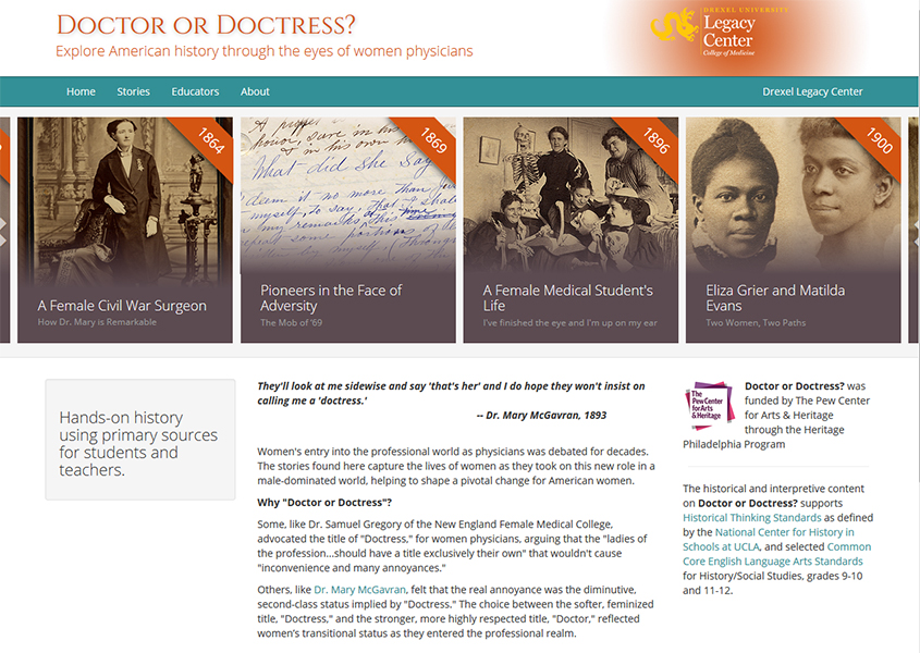 Doctor or Doctress homepage (The Legacy Center Archives and Special Collections)