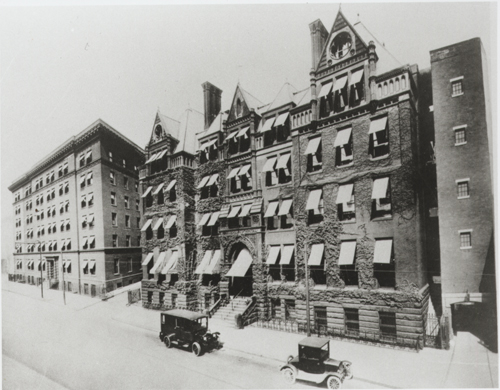 Hahnemann Hospital and Nurses' Building, 15th Street, circa 1910 (The Legacy Center Archives and Special Collections)