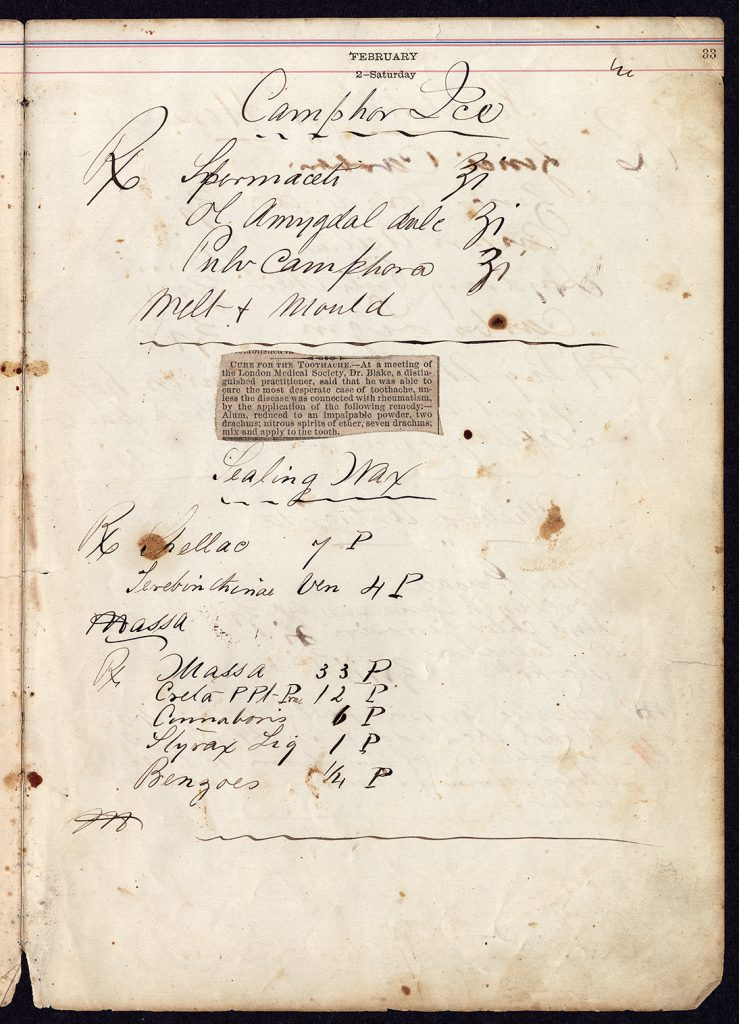 Theodore Geiger medicinal and household recipe notebook, page 33 (The Legacy Center Archives and Special Collections)