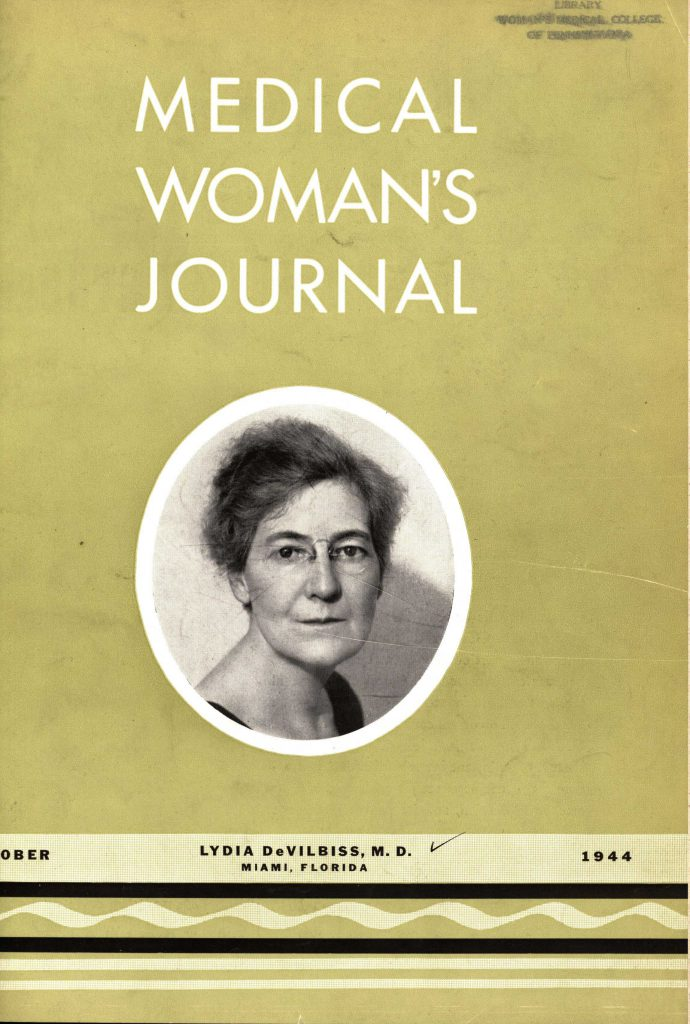 Dr. Lydia Allen DeVilbiss on the cover of the October 1944 edition of Medical Women's Journal (The Legacy Center Archives and Special Collections)