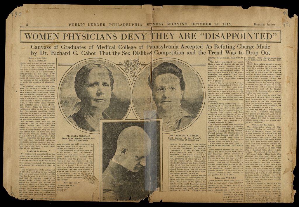 Women Physicians Deny They Are 'Disappointed' - Woman's Medical College of Pennsylvania clippings scrapbook: Volume 5, page 490-491