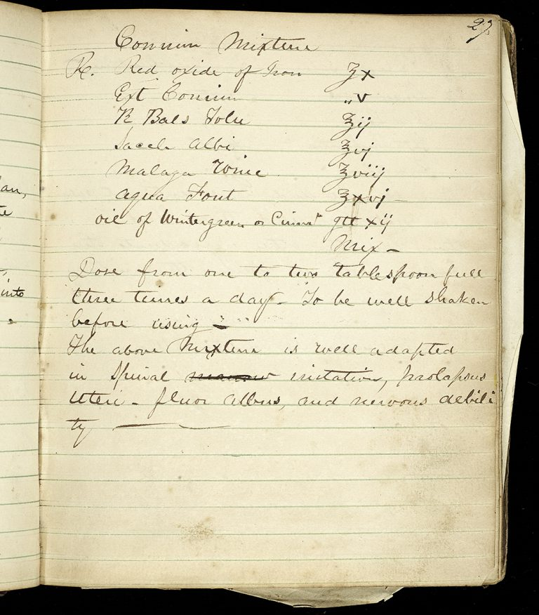 Jacob G. Shoch medicinal and household recipe notebook, page 27 (The Legacy Center Archives and Special Collections)