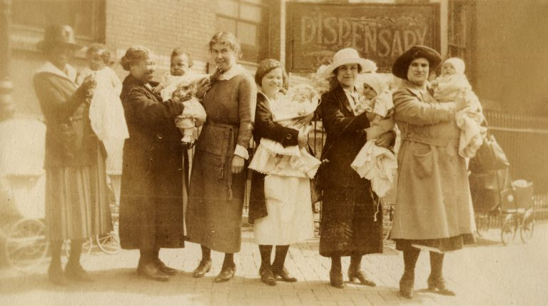 Dr. Tallant, professor of obstetrics at WMCP outside the college's maternity clinic c. 1923 (From the Clara Dickinson scrapbook Acc1993.01) (The Legacy Center Archives and Special Collections)