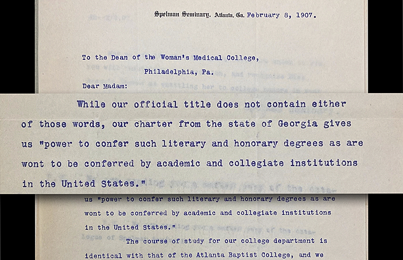 Correspondence between Spelman Seminary and Woman's Medical College regarding Daisy E. Brown, 1907. (Legacy Center Archives & Special Collections)