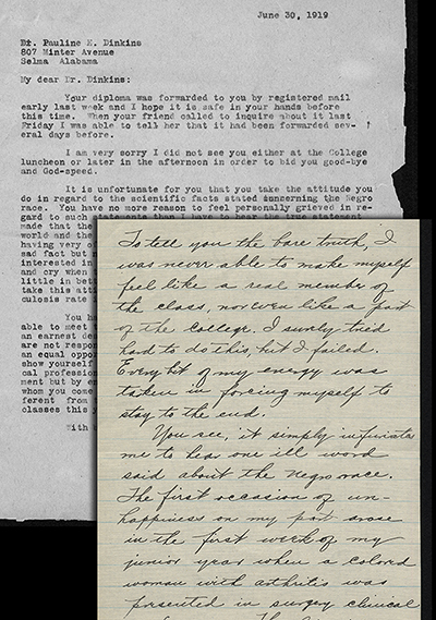 Correspondence between Pauline Dinkins and Martha Tracy, 1919. (Legacy Center Archives & Special Collections)