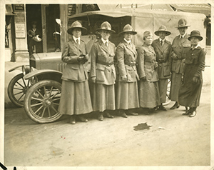 The first group of women physicians leaving for AWH service, 1918. (The Legacy Center Archives and Special Collections)