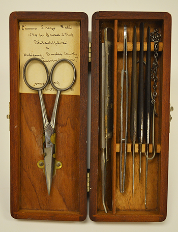 Dissection kit similar to those used by Dr. Weaver and his students, circa 1900 (The Legacy Center Archives and Special Collections)