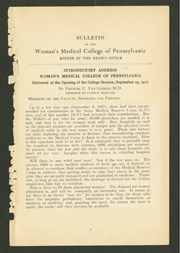 First page of Woman's Medical College Bulletin, December 1917, edited (The Legacy Center Archives and Special Collections)