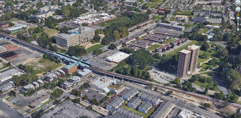 aerial image of 46th and Market Sts. in West Philadelphia