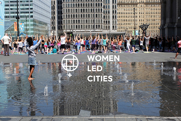 Women Led Cities logo over image of Dilworth Plaza in Philadelphia