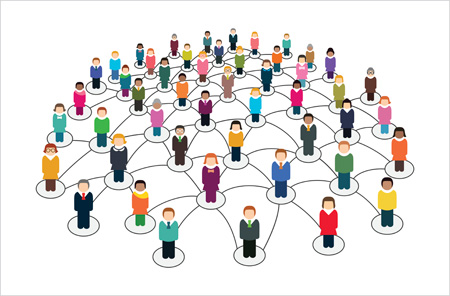 Social network scheme which contains people connected to each other.