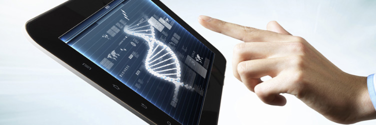 Biomedicine DNA digital media on a tablet screen.