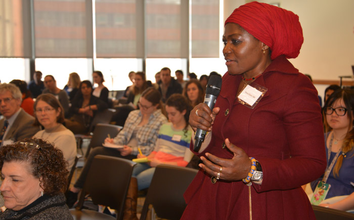 An attendee asks a question at the 2018 Sex and Gender Research Forum
