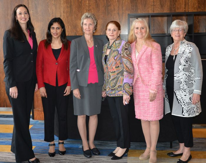 Amanda Woodworth, Shailaja Nair, Lydia Komarnicky, Elaine Grobman, Rene Rothstein-Rubin, and Lynn Yeakel at the 2017 Conversation About Breast Cancer