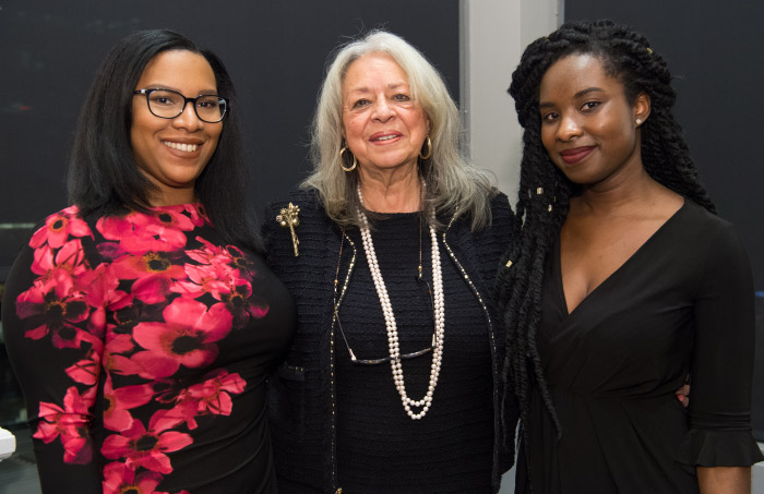 Lifetime Achievement Award winner Vivian Pinn, MD, with Woman One Scholars Dominique Jones and Jackie Koomson